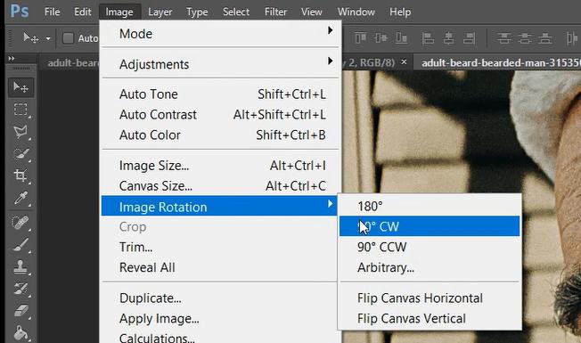 rotate image photoshop