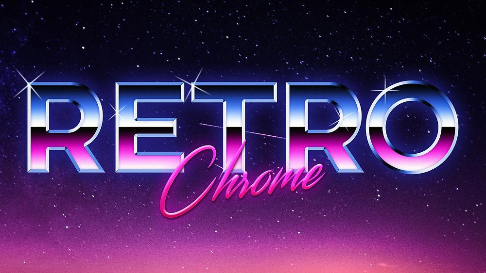 how to create 80's retro style chrome logo text effect