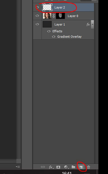 Click on Create new layer icon in Photoshop to create a new layer