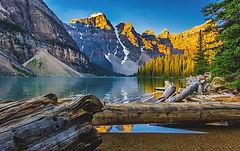Lake Moraine, mountans, lake, trees, logs