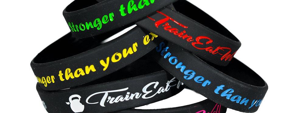 Bracelet Stronger than your excuses noir 12mm
