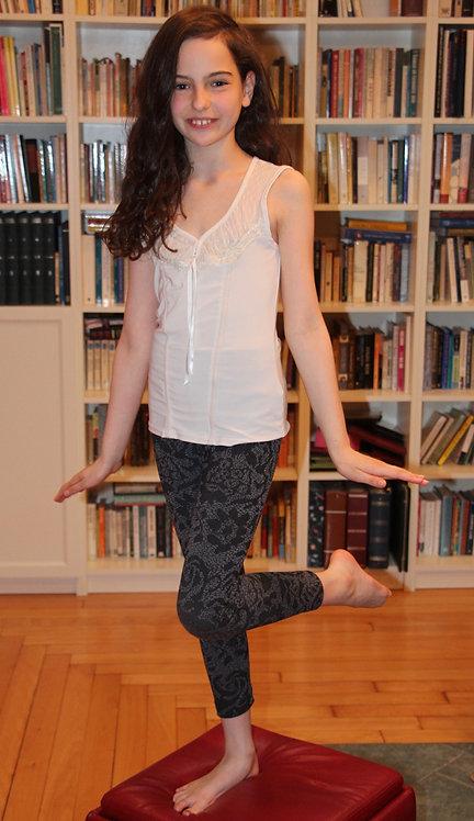 Gray Flower Pants