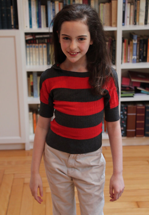 Grey & Red Striped Sweater