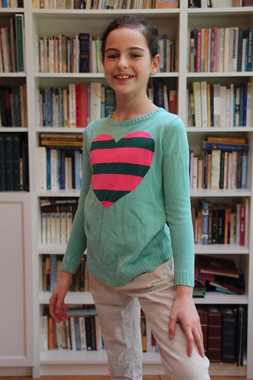 Green & Pink Heart Sweater