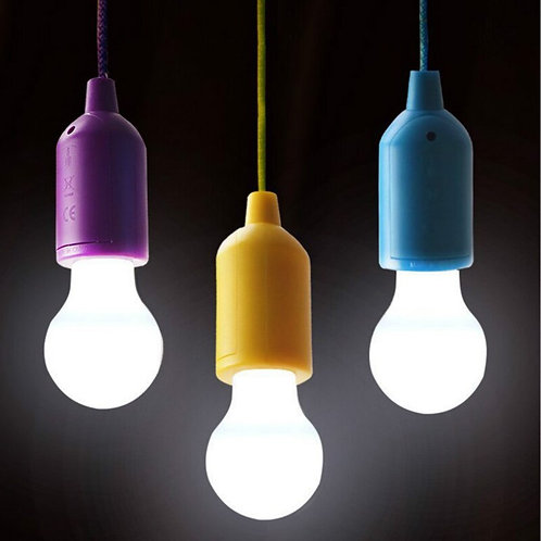Colorful Light Bulb Chandelier Portable LED Pull Cord Light Bulb Outdoor Garden