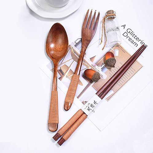 3pcs Table Decorations Wooden Cutlery Set Kitchen Dinning Wood Dinnerware Sets