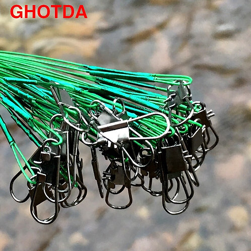 20Pcs Steel Fishing Lure With Swivel 15/20/24/30cm Anti-Bite Trace Leader Fish