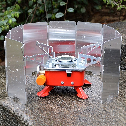 9 Plates Fold Camping Cooker Gas Stove Wind Shield Screen Foldable Outdoor