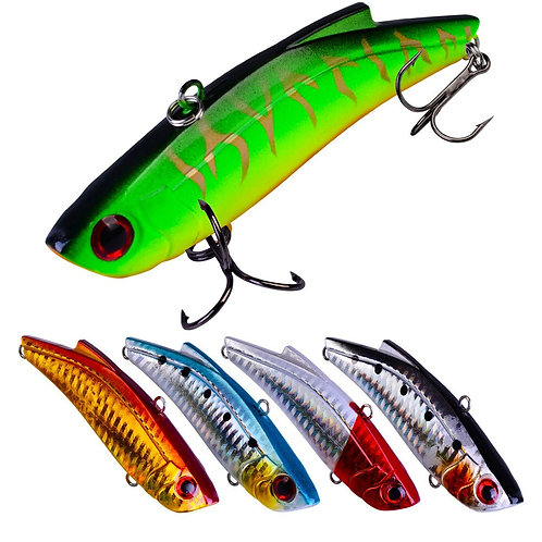 5PCS VIB Lure 90mm 27.4g Sinking Artificial Vibrator Bass Fishing Lure Hard Bait