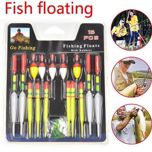 1 Set (15Pcs) Vertical Buoy Sea Fishing Floats Assorted Size
