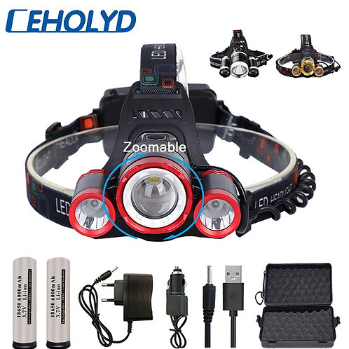 LED Headlight 3*T6 Zoom Headlamp Torch Lights Lamp+ Battery+AC/Car/Usb Charger
