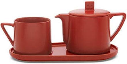 Théière et tasse sur plateau céramique