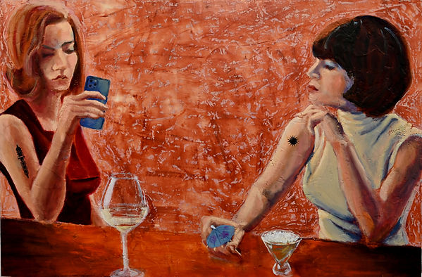 """Confessions Over Coctails.  Oil & encaustic on cradleboard 24""""x32"""" 2021."""