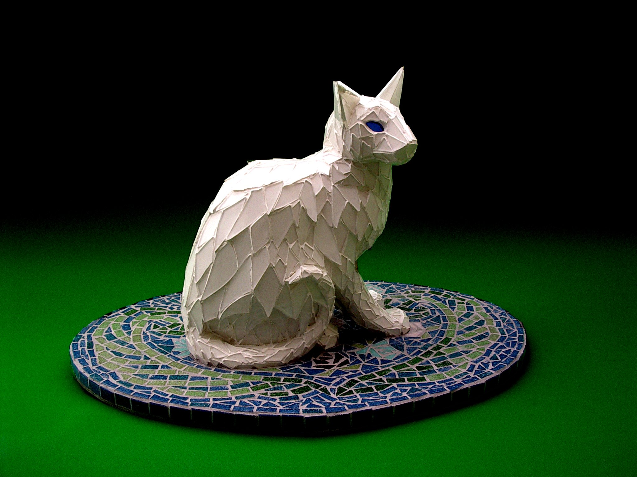 White Cat on Floral Carpet