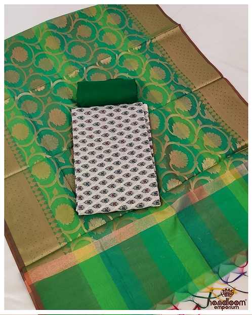 White and Green Handloom Jacquard Cotton 3 Piece Unstitched Suit