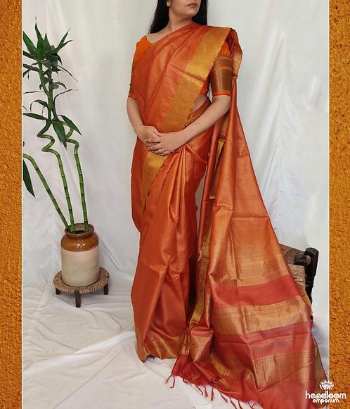 Rust Orange Paithini Border Tussar Silk Saree