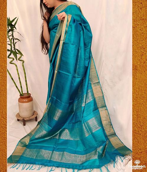 Firozi Blue Paithini Border Tussar Silk Saree
