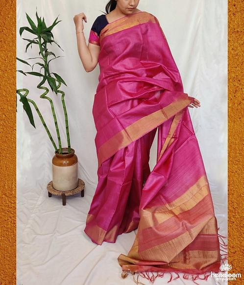 Pink and Rose Pink Paithini Border Tussar Silk Saree