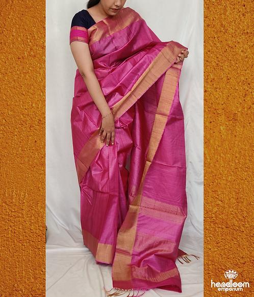 Fuschia ( Rani) Pink Paithini Border Tussar Silk Saree