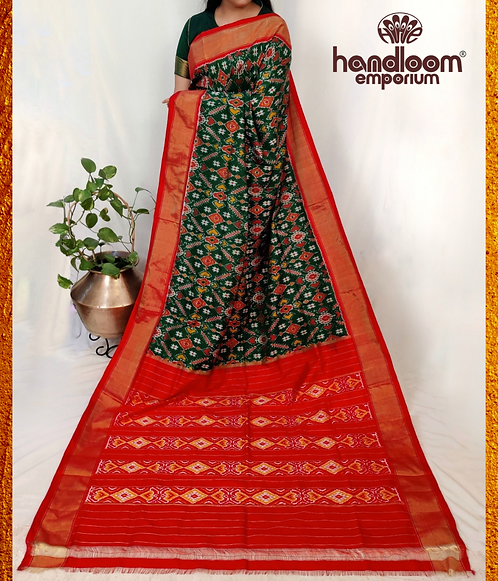 Bottle Green and Red Ikkat Silk Saree