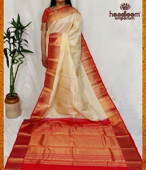 Cream and Red Nakshi Kanjivaram Pure Silk Saree