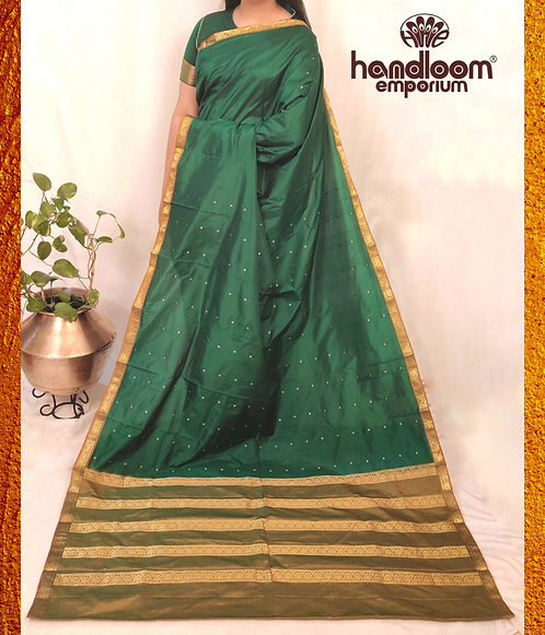 Bottle Green and Sand Naksham Silk Saree