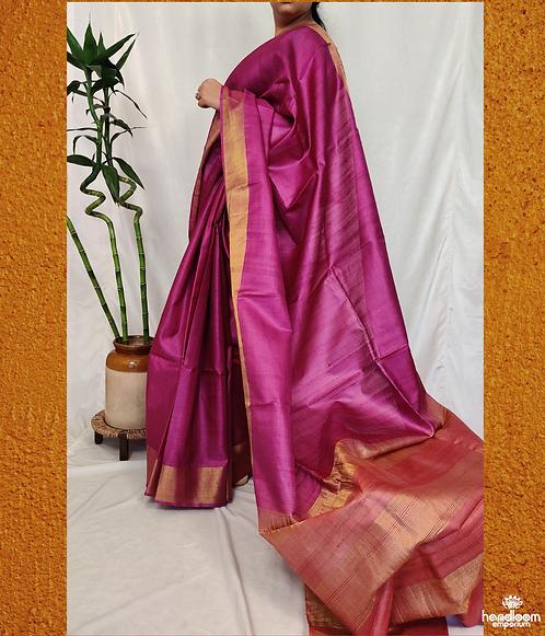 Purple and Rose Pink Paithini Border Tussar Silk Saree