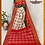 Thumbnail: Off-White and Red Ikkat Silk Saree