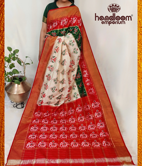 Off-White and Red Ikkat Silk Saree