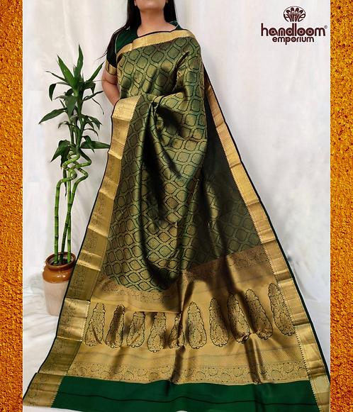 Bottle Green Kanjivaram Jamawar Pure Silk Saree