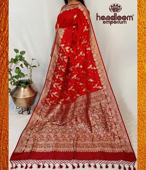 Red and Maroon Banarasi Pure Silk Saree