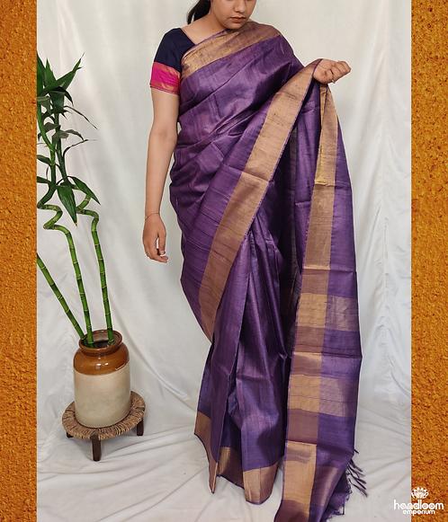 Royal Purple Paithini Border Tussar Silk Saree