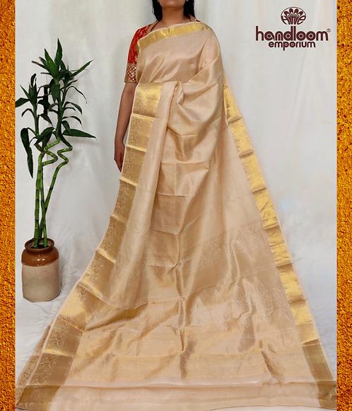 Cream Nakshi Kanjivaram Jamawar Pure Silk Saree