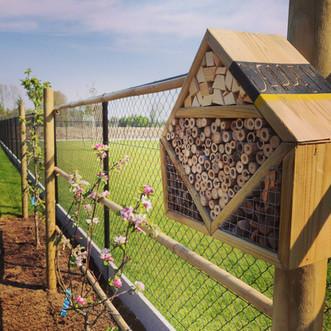 Bijenhotel op fruitbomen in leivorm