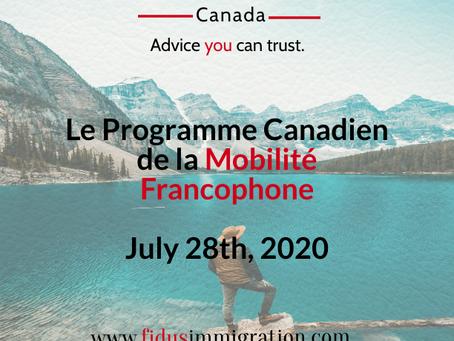 Le Programme Canadien de la Mobilité Francophone - July 28th, 2020.
