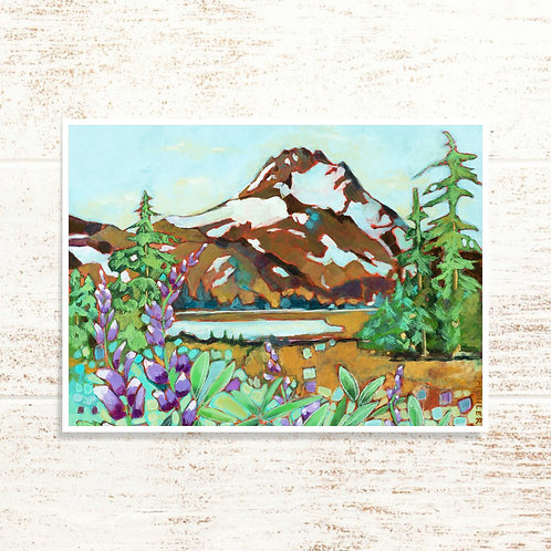 """Mt. Jefferson and Lupine"" Notecard"