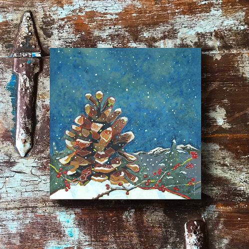 """Snowy Pinecone"" Print"