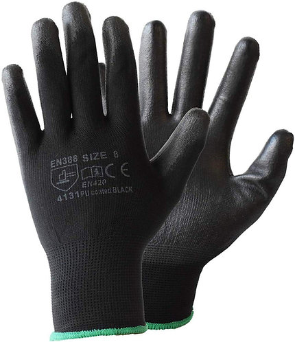 Black Work PU Coated Gloves - Conforms to EN 388:2016 Levels 4-1-3-1-X