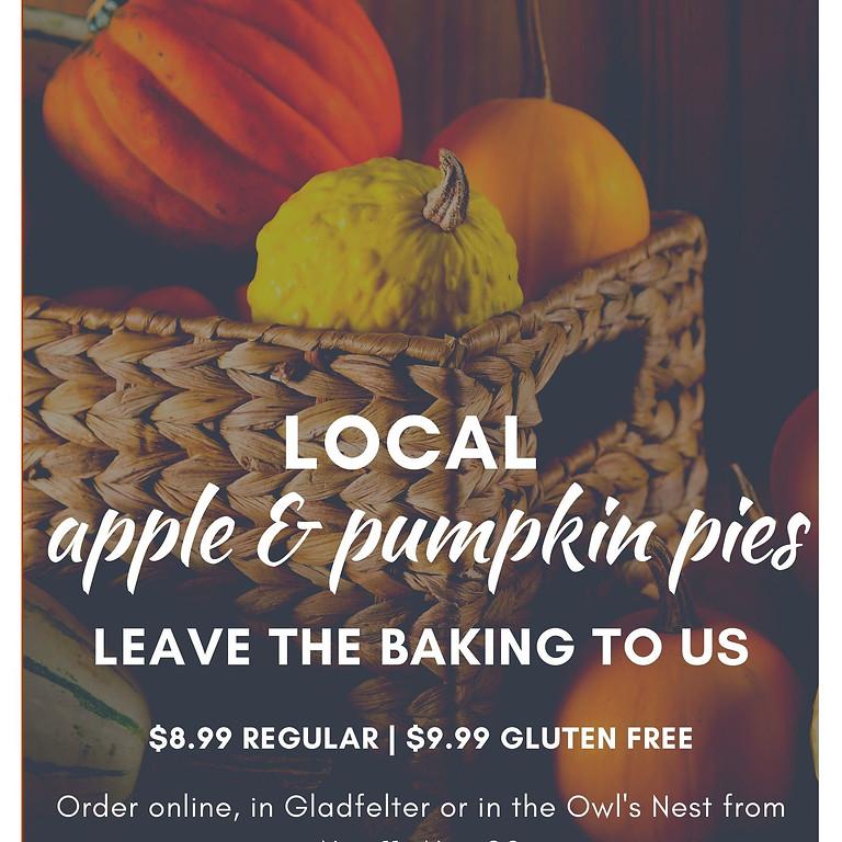 Local Apple and Local Pumpkin Pie Sale