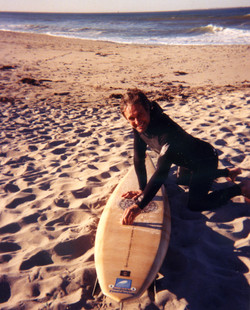 Hening - waxing a sustainable surfboard in 1999