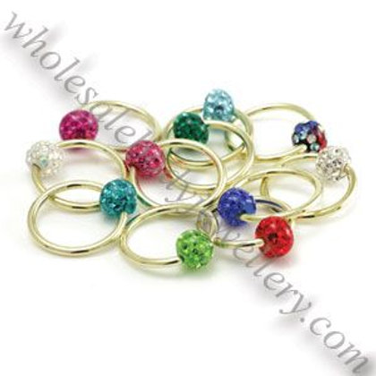Multi Gem Resin Coated Ball in Gold PVD BCR 1.6mm