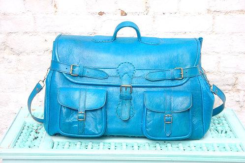 Leather weekend bag Aqua