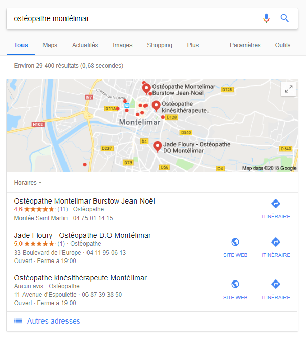 Capture d'écran Google My Business