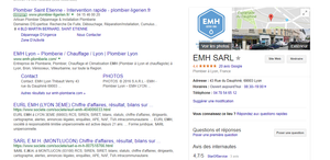 Exemple de résultat de recherche sur Google My Business