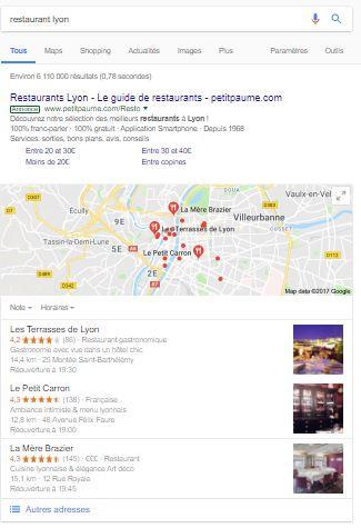 Exemple d'un potentiel client qui recherche sur Google