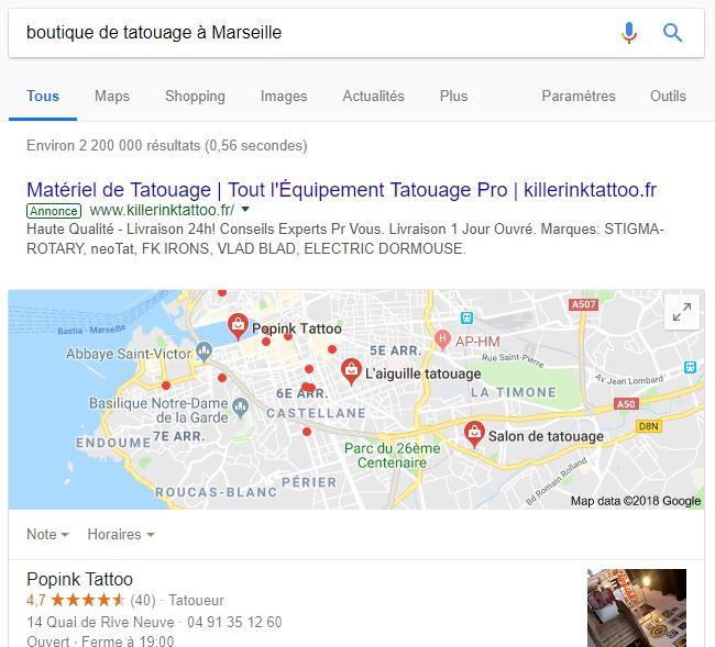 Résultat de Google Adwords suite à une recherche