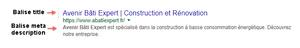 Exemple de méta description faite sur un site Wix