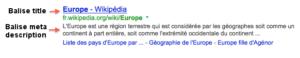 Résultat Google balise titre et meta description