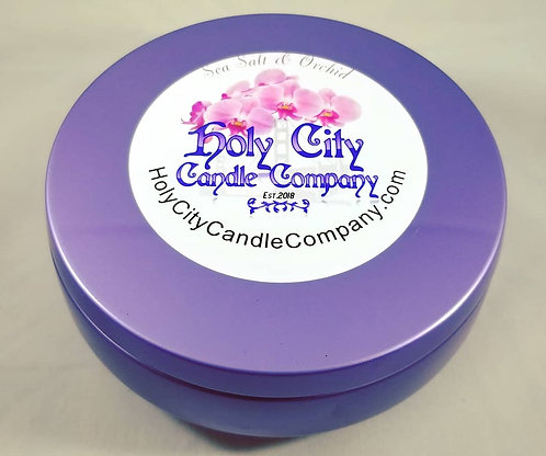 Sea Salt & Orchid, three wick, 14 oz,  large, purple tin