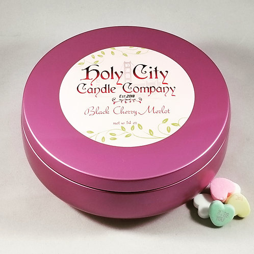 Black Cherry Merlot 14oz three wick pink candle tin